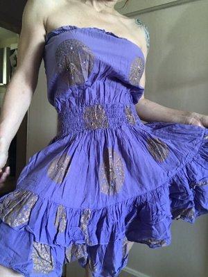 Sukienka typu babydoll jasny fiolet-złoto