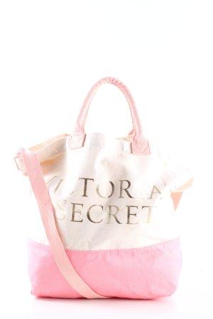 Victoria's Secret Bolso de tela crema-rosa letras impresas look casual