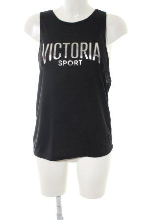 Victoria Tanktop schwarz-silberfarben Schriftzug gedruckt Casual-Look