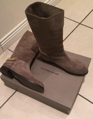 Botas de pantorrilla ancha marrón claro