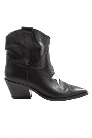 Victoria Wood Western Booties black-silver-colored themed print casual look