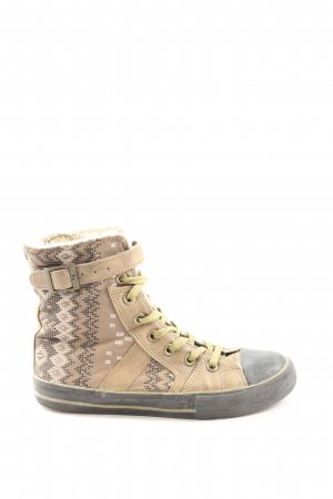 Victory High Top Sneaker creme-hellgrau grafisches Muster Casual-Look