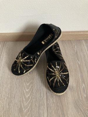 Vidorreta Espandrilles Sandalen Sandalette Ballerinas schwarz gold Gr. 37