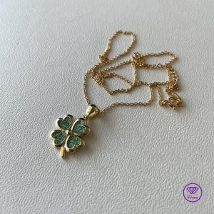 ♈️ Vierblättriges Kleeblatt 925 Sterling Silber Halsketten-Anhänger, vergoldet & gestempelt