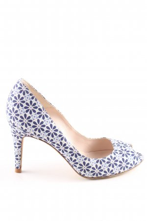 Vigneron Peep Toe Pumps blue-white allover print casual look
