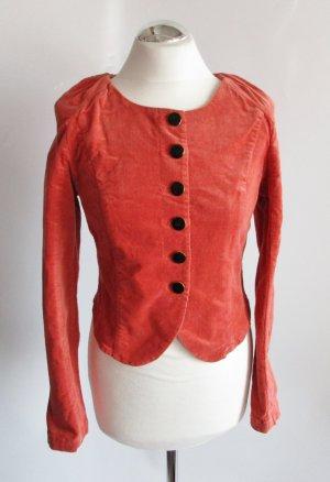 Viktorianisch Kurz Blazer Cord Vero Moda Größe S 36 Rost Orange Taille Rüschen Raffung Stretch Raglan Trachten Eng Figurnah Jacke Bluse