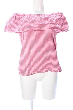 Vila Camisa tipo Carmen rosa-blanco estampado a rayas look casual