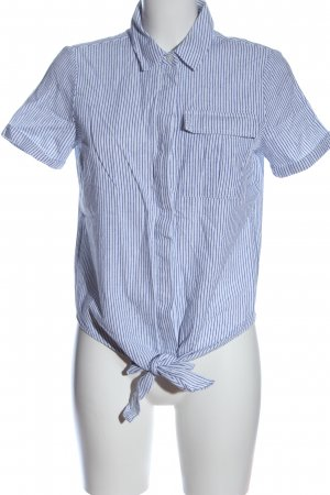 Vila Clothes Flannel Shirt white-blue striped pattern business style