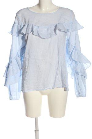 Vila Clothes Hemd-Bluse blau-weiß Allover-Druck Casual-Look