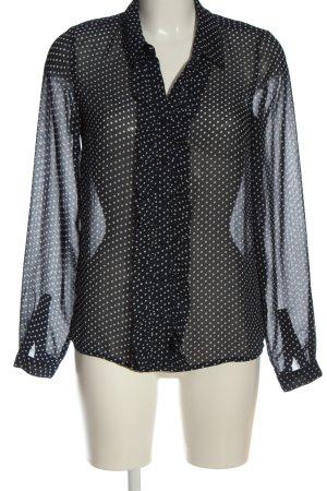 Vila Clothes Hemd-Bluse schwarz-weiß Allover-Druck Business-Look