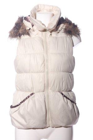 Vila Clothes Chaleco de piel sintética blanco puro-marrón estampado acolchado