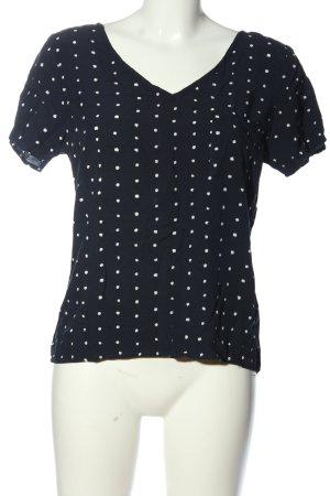 Vila Clothes Kurzarm-Bluse schwarz-weiß Allover-Druck Casual-Look