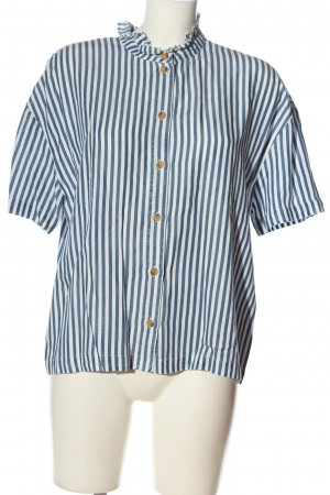 Vila Clothes Kurzarm-Bluse weiß-blau Streifenmuster Casual-Look