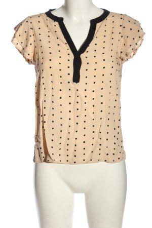 Vila Clothes Kurzarm-Bluse creme-schwarz abstraktes Muster Casual-Look