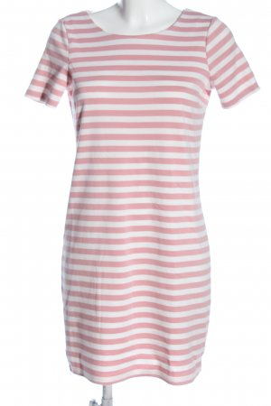 Vila Clothes Kurzarmkleid pink-weiß Streifenmuster Casual-Look