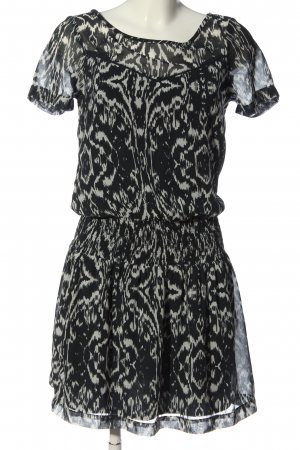 Vila Clothes Kurzarmkleid schwarz-weiß abstraktes Muster Casual-Look