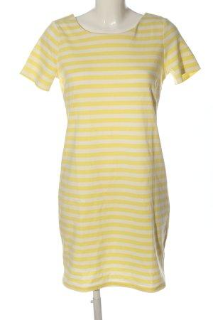 Vila Clothes Kurzarmkleid weiß-blassgelb Streifenmuster Casual-Look