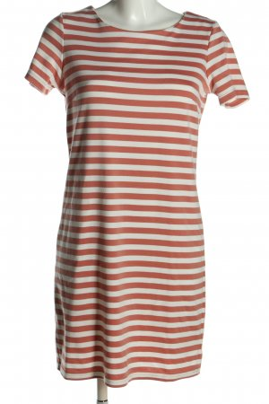 Vila Clothes Kurzarmkleid braun-weiß Streifenmuster Casual-Look