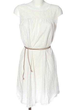 Vila Clothes Kurzarmkleid weiß-braun Streifenmuster Casual-Look
