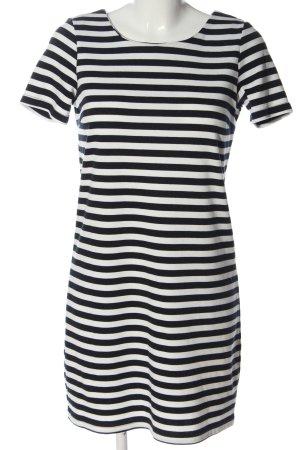 Vila Clothes Kurzarmkleid schwarz-weiß Streifenmuster Casual-Look