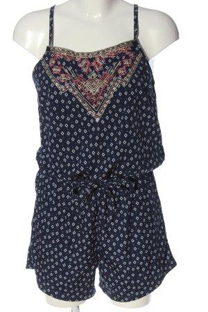 Vila Clothes Kurzer Jumpsuit blau-weiß Allover-Druck Casual-Look