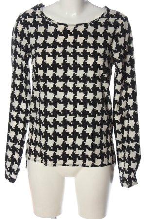 Vila Clothes Langarm-Bluse schwarz-weiß Allover-Druck Casual-Look