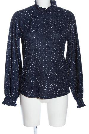 Vila Clothes Langarm-Bluse blau-weiß Allover-Druck Casual-Look