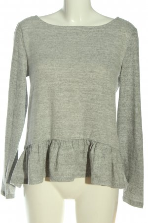 Vila Clothes Langarm-Bluse hellgrau meliert Casual-Look