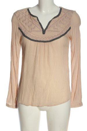 Vila Clothes Langarm-Bluse creme-schwarz Casual-Look
