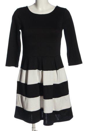 Vila Clothes Langarmkleid schwarz-weiß Allover-Druck Elegant