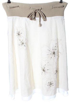 Vila Clothes Jupe en lin blanc motif de fleur style décontracté