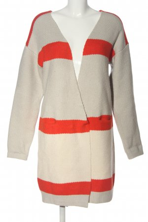 Vila Clothes Longpullover creme-rot Zopfmuster Casual-Look
