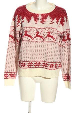 Vila Clothes Jersey estilo Noruego blanco puro-rojo look casual
