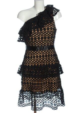 Vila Clothes Robe asymétrique noir-rose chair Motif de tissage