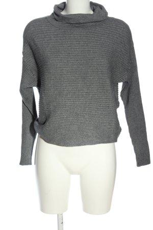 Vila Clothes Rollkragenpullover hellgrau Streifenmuster Casual-Look