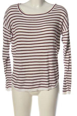 Vila Clothes Rundhalspullover weiß-rot Streifenmuster Casual-Look