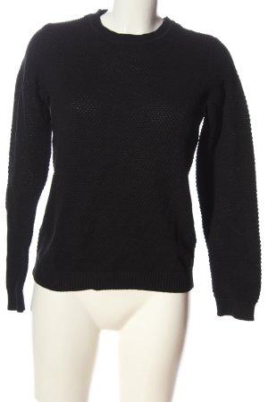 Vila Clothes Rundhalspullover schwarz Webmuster Casual-Look