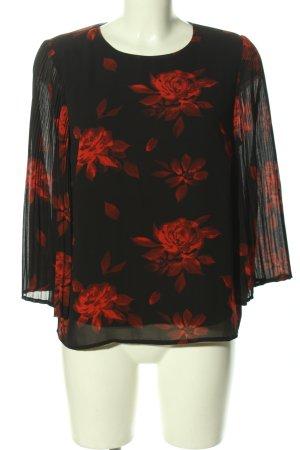 Vila Clothes Schlupf-Bluse schwarz-rot Blumenmuster Elegant