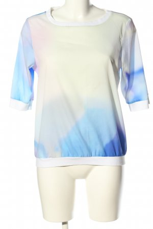 Vila Clothes Schlupf-Bluse blau-wollweiß abstraktes Muster Casual-Look