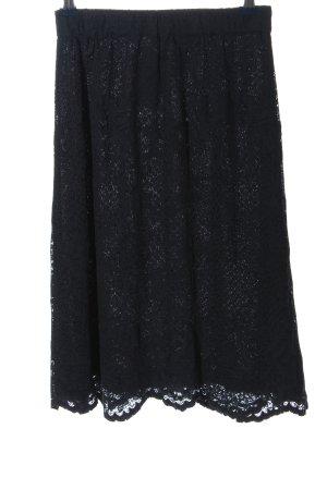 Vila Clothes Falda de encaje negro look casual
