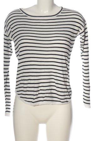 Vila Clothes Camisa tejida blanco-negro estampado a rayas look casual