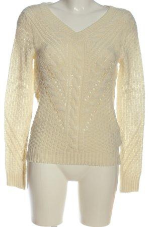 Vila Clothes V-Ausschnitt-Pullover creme Zopfmuster Casual-Look