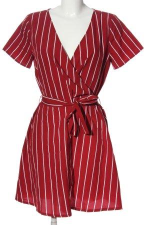 Vila Clothes Kopertowa sukienka czerwony-biały Wzór w paski W stylu casual