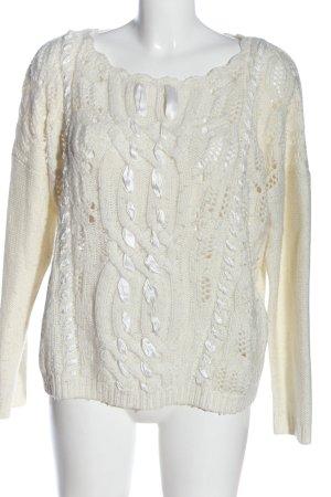 Vila Clothes Pull torsadé blanc cassé style décontracté