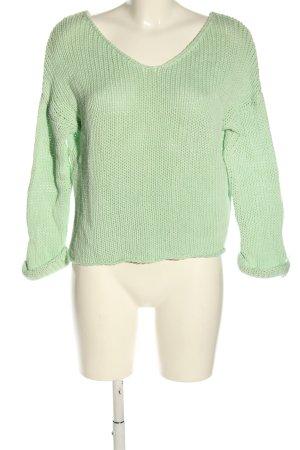 Vila Grobstrickpullover grün Zopfmuster Casual-Look