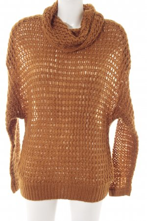 Vila Crochet Sweater cognac-coloured fluffy