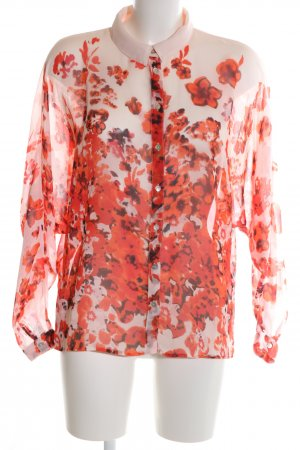 Vila Hemd-Bluse creme-rot Blumenmuster Casual-Look