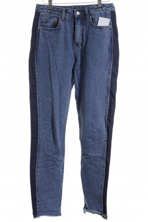 Vila Hoge taille jeans blauw-donkerblauw straat-mode uitstraling