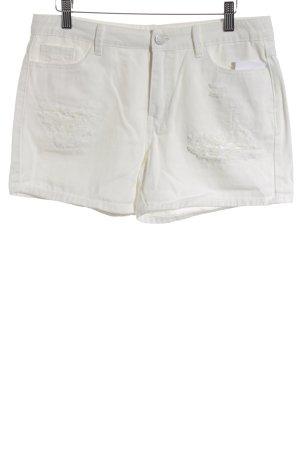 Vila High-Waist-Shorts wollweiß Metallelemente