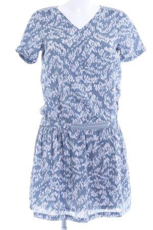 Vila Hippiekleid weiß-graublau abstraktes Muster Hippie-Look